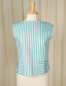 1950s Blue Striped Tank Top by Cats Like Us - Cats Like Us