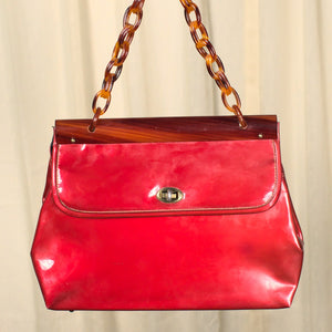 1950s Brick Red & Plastic Purse