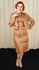 1950s Bronze Brocade Dress Suit