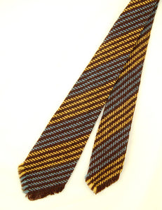 1950s Brown & Blue Loomed Tie by Vintage Collection by Cats Like Us - Cats Like Us