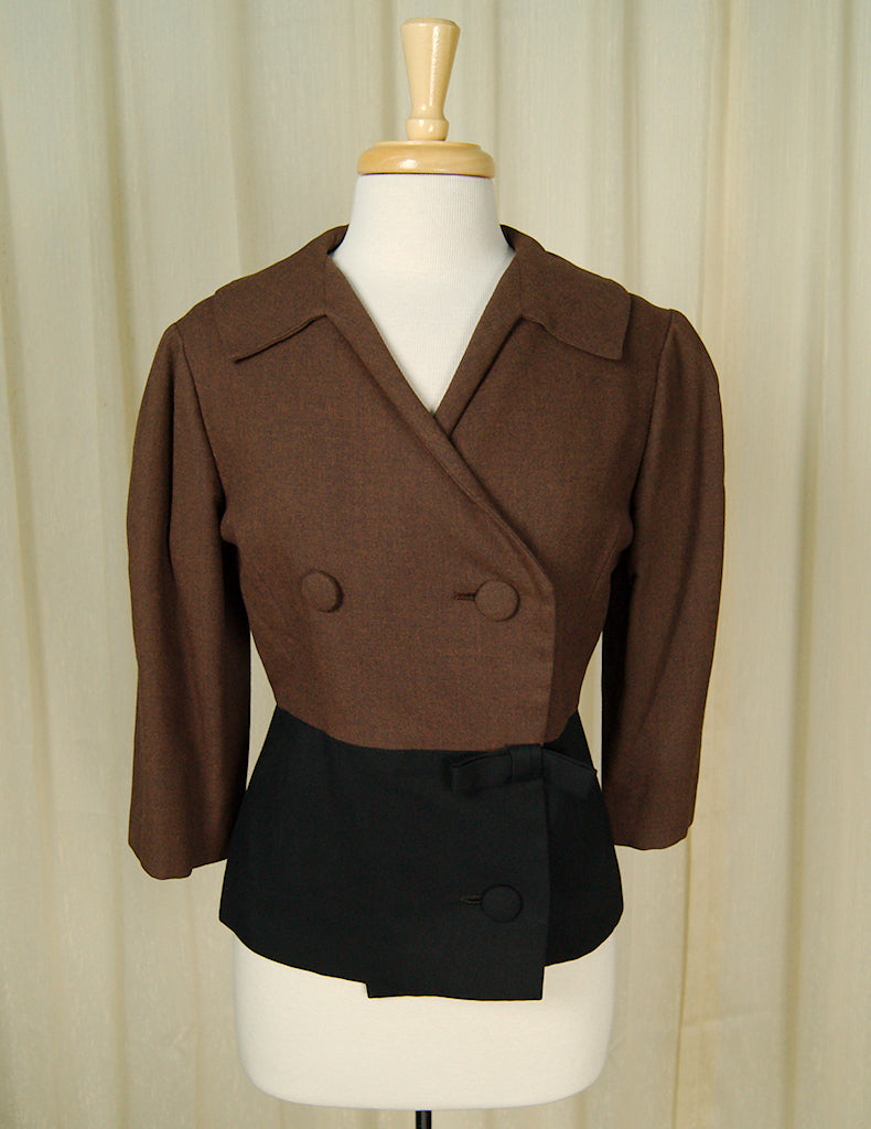 1950s Brown Bow Jacket by Vintage Collection by Cats Like Us - Cats Like Us