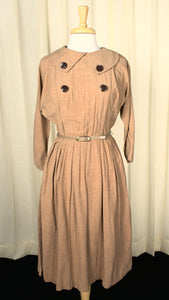 1950s Brown Button Swing Dress