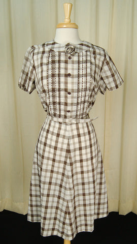 1950s Brown Checker Rose Dress by Vintage Collection by Cats Like Us - Cats Like Us