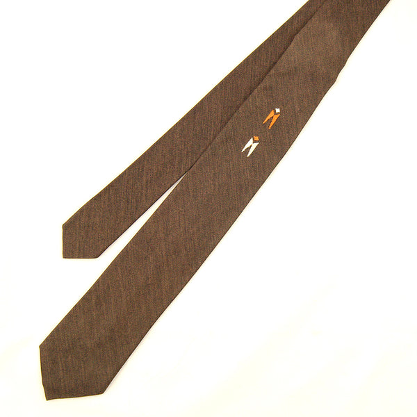 1950s Brown Embroidered Tie by Cats Like Us - Cats Like Us