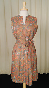 1950s Brown Floral Pleat Dress by Cats Like Us - Cats Like Us