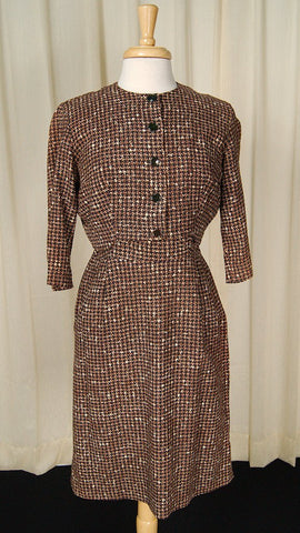1950s Brown Houndstooth Suit - Cats Like Us