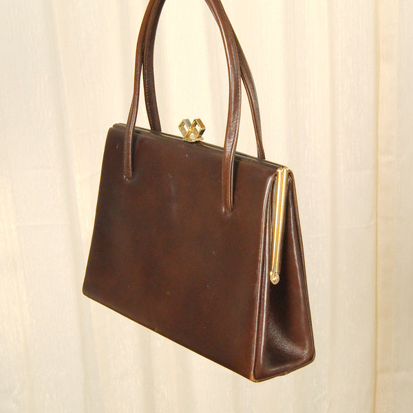 1950s Brown Leather Handbag by Cats Like Us - Cats Like Us