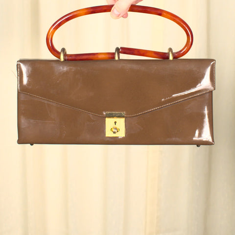 1950s Brown Patent Handbag