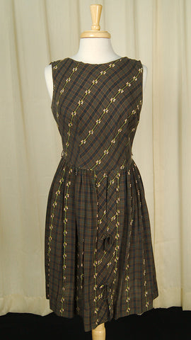 1950s Brown Plaid Day Dress by Cats Like Us - Vintage Collection - Cats Like Us