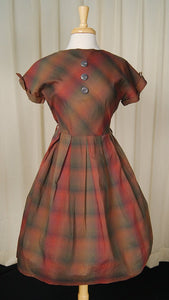 1950s Brown Plaid Swing Dress