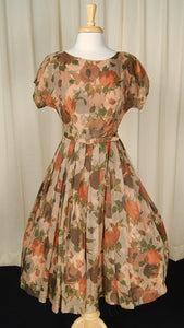 1950s Brown Sheer Floral Dress - Cats Like Us