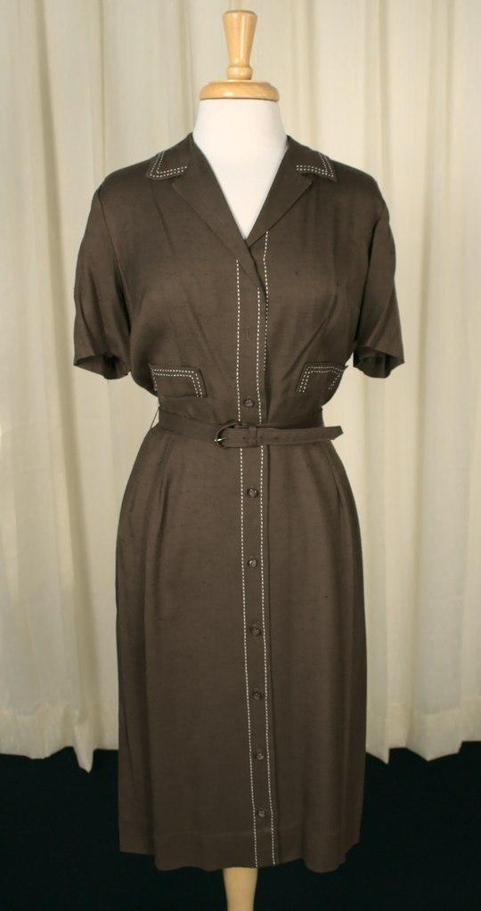 1950s Brown Stitch Shirt Dress
