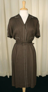 1950s Brown Stitch Shirt Dress - Cats Like Us