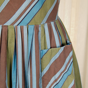 1950s Brown Striped Dress