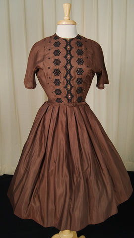 1950s Brown Swing Dress by Cats Like Us - Cats Like Us