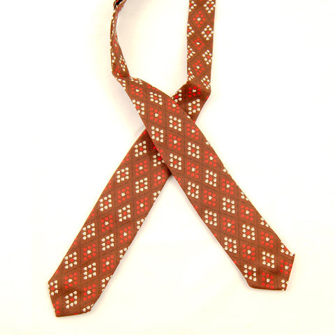 1950s Brown Tiny Tulips Bow Tie