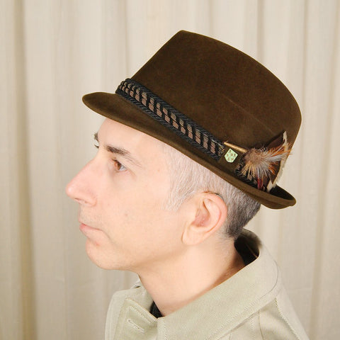 1950s Brown Velour Trilby Hat - Cats Like Us