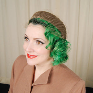 1950s Brown Velvet Bow Hat - Cats Like Us
