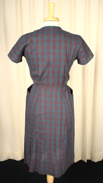 1950s Vintage Burgundy Plaid Dress