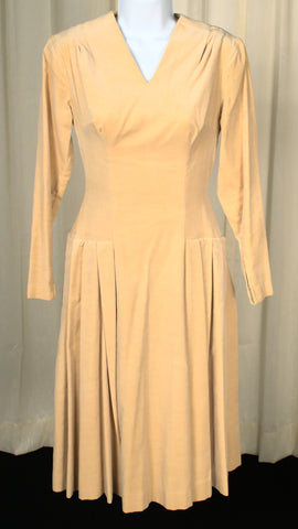 Vintage 1950s Butterscotch Velvet Dress