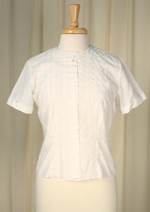 1950s Button Back Eyelet Blouse - Cats Like Us