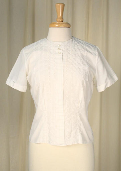 1950s Button Back Eyelet Blouse