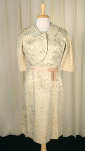 1950s Cream Brocade Dress Suit