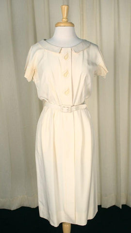 1950s Cream Leaf Shirt Dress