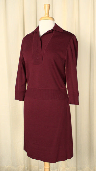 Vintage 1950s Deep Red Wool Knit Set