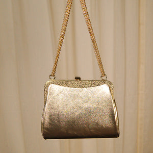 1950s Embossed Gold Handbag by Cats Like Us - Vintage Collection - Cats Like Us
