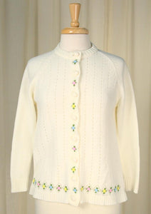 1950s Floral Trim Cardigan - Cats Like Us