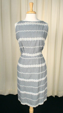 1950s Gingham Rhinestone Dress