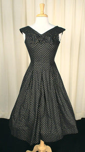 1950s Gold & Black Dot Dress