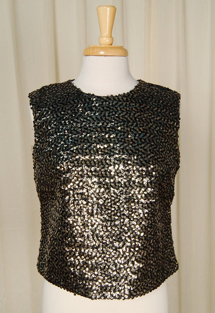 1950s Gold & Black Sequin Top