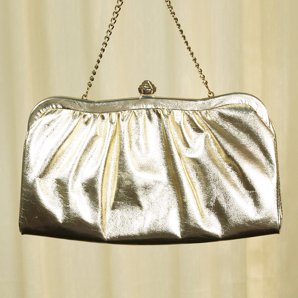 1950s Gold Clutch Handbag by Cats Like Us : Cats Like Us