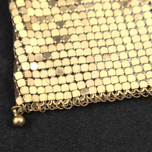 1950s Vintage Gold Mesh Draw String Bag