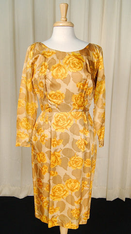 1950s Gold Rose Wiggle Dress - Cats Like Us