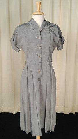 1950s Gray Rhinestone Dress