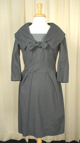 1950s Gray Sailor Wiggle Dress - Cats Like Us