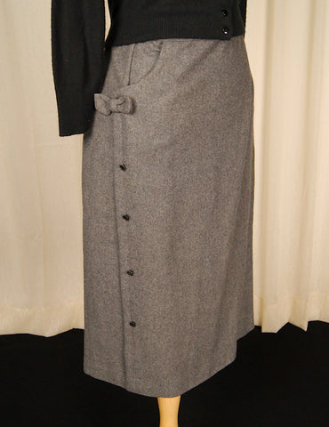 1950s Gray Wool Skirt w Bow by Vintage Collection by Cats Like Us - Cats Like Us