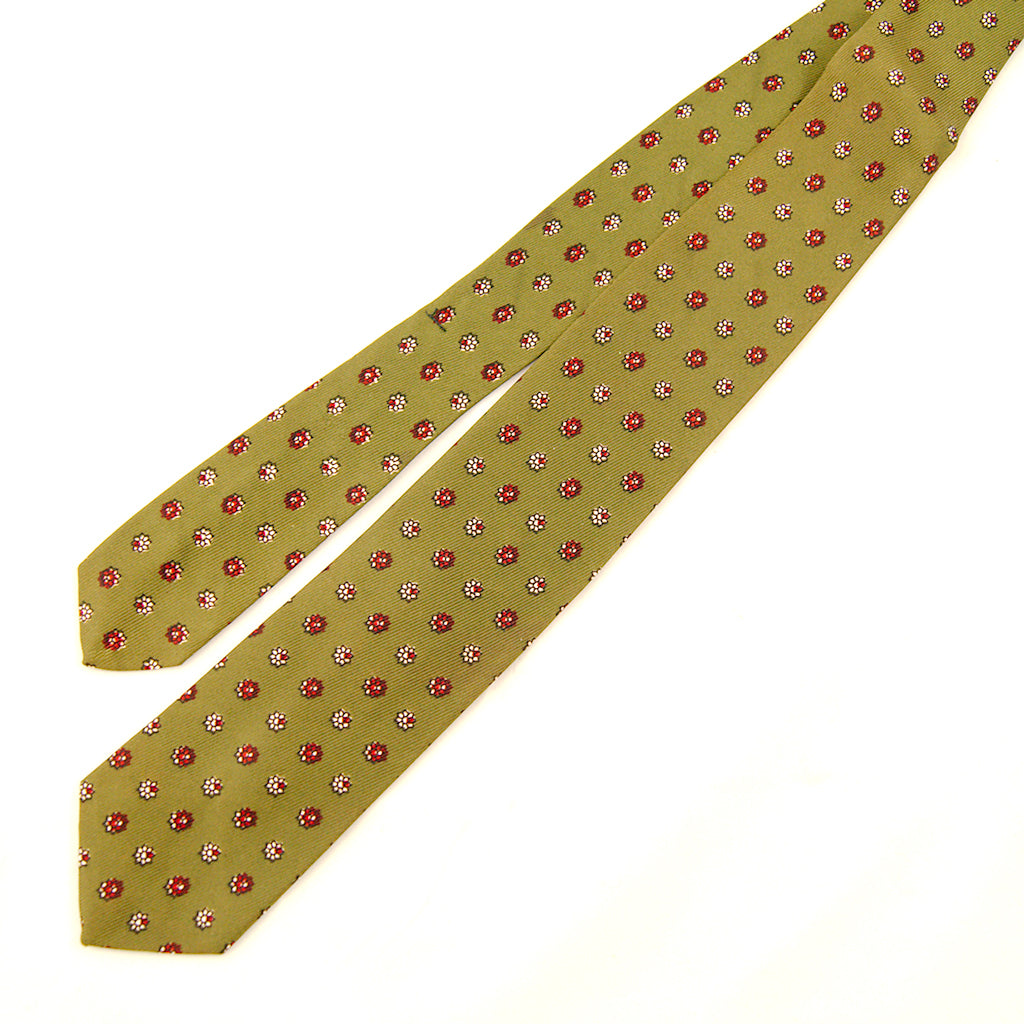 1950s Green Tiny Floral Tie
