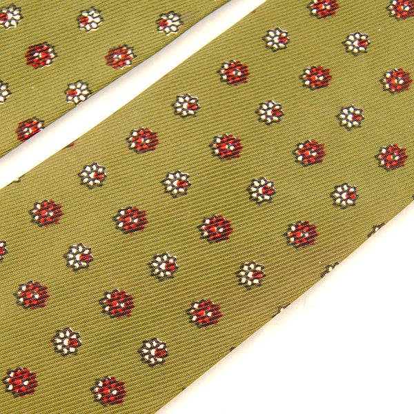 1950s Green Tiny Floral Tie by Cats Like Us - Cats Like Us