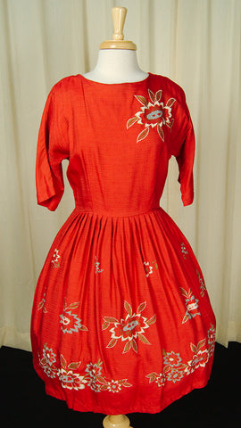 1950s Hand Painted Swing Dress
