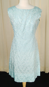 1950s Ice Blue Wrap Dress by Cats Like Us - Cats Like Us