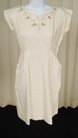 1950s Ivory Brocade Dress by Cats Like Us - Cats Like Us
