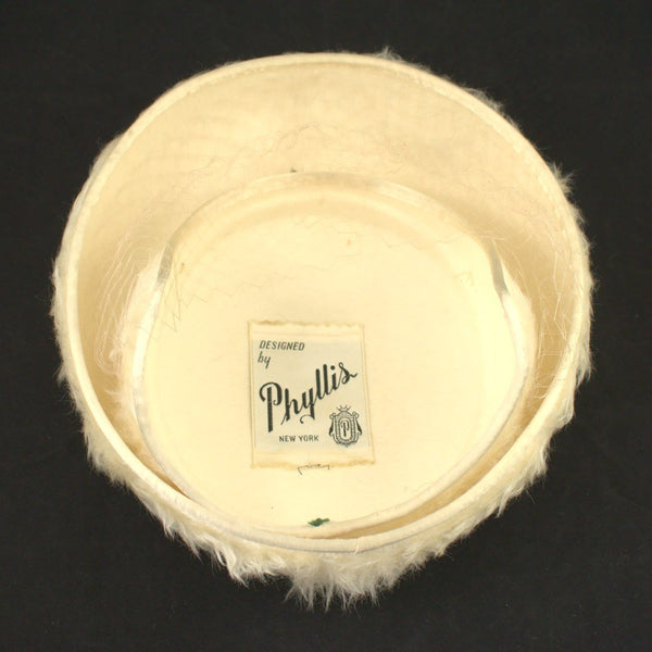 1950s Ivory Faux Fur Hat - Cats Like Us