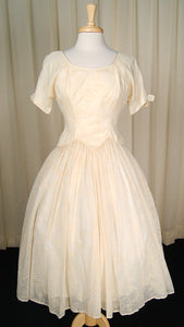 1950s Ivory Flocked Swing Dress by Cats Like Us - Cats Like Us