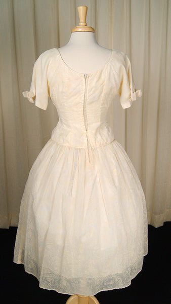 1950s Ivory Flocked Swing Dress