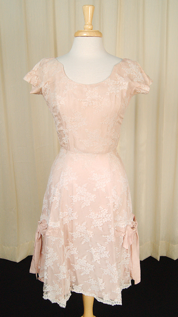1950s Lace Overlay Bow Dress by Cats Like Us - Cats Like Us