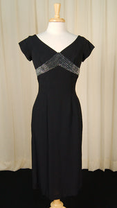 1950s LBD with Silver Bow Dress by Cats Like Us - Cats Like Us